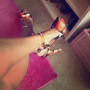 Orange/multi color platform, satin sandal